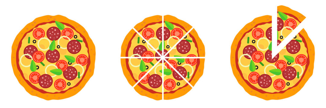 Whole and chopped pizza icon. Vector collection on white background.