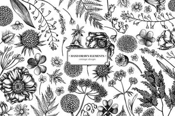 Floral design with black and white shepherd's purse, heather, fern, wild garlic, clover, globethistle, gentiana, astilbe, craspedia, lagurus, black caraway, chamomile, dandelion, poppy flower, lily of Wall mural