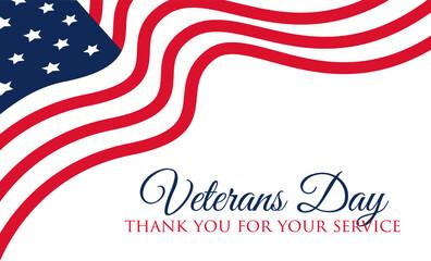 Veterans Day celebration illustration. HD background banner. Remember and honor. Vector illustration