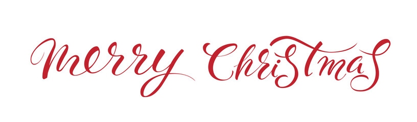 Merry Christmas red hand lettering inscription to winter holiday design, calligraphy vector illustration.Creative typography for Holiday Greeting Gift Poster. Calligraphy Font style Banner.