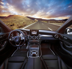 Travel in car. Element of design. car in the mountain road