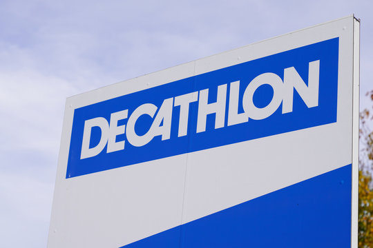 Decathlon sign logo store French shop sporting goods retailer brand