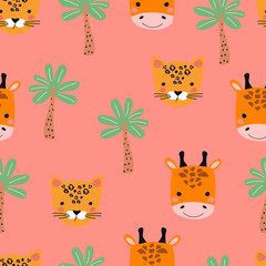 Seamless pattern with Cheetah, giraffe and palm tree on colored background. Vector illustration for printing on fabric, postcard, wrapping paper, book, picture, Wallpaper. Cute baby background.