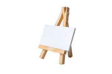 Mock Up Empty blank canvas on wooden easel isolated on white background.
