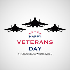 Vector illustration of American veterans day. Simple typography and USA jets.