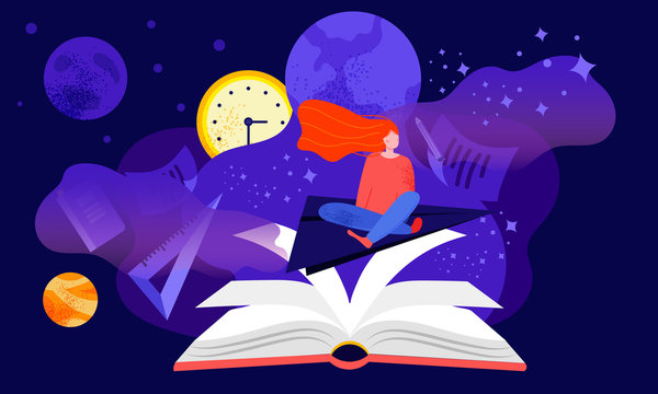 Reading inspiration fantasy concept cartoon with red-headed girl student sitting with her legs crossed among stars and planets, in the violet night colors with open book