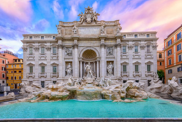 Deurstickers Rome View of Rome Trevi Fountain (Fontana di Trevi) in Rome, Italy. Trevi is most famous fountain of Rome. Architecture and landmark of Rome.