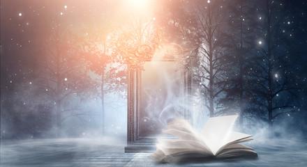 Fotomurales - Open book on a dark background, night landscape, dark forest, dark street. Big magic mirror. Smog, smoke, abstract neon light.