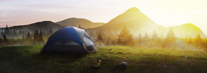 Wall Murals Camping Panoramic tent in the mountains