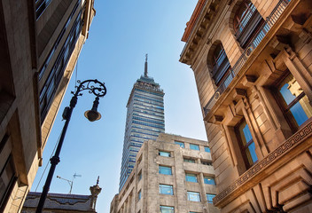 Landmark tower Torre Latinoamericana near the Alameda Central Park