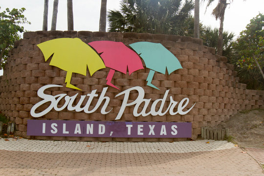 Welcome sign for South Padre Island, Texas