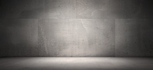 Dark Empty Concrete Wall Room Floor Background Spot Light Presentation Scene