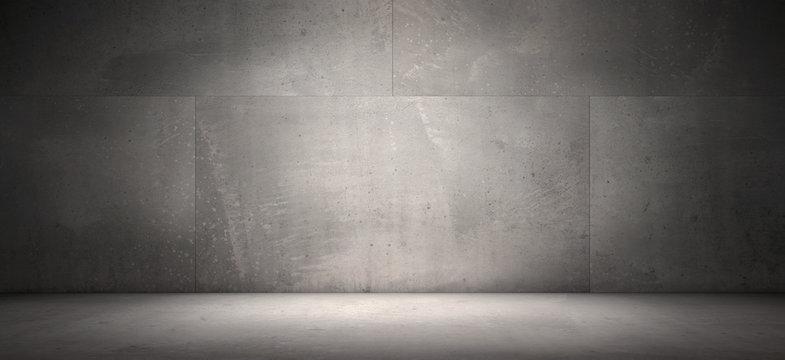 Dark Empty Concrete Wall Room Floor Background Spot Light Presentation Scene