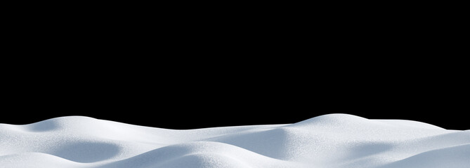 Fotobehang Zwart Isolated snow hills landscape. Winter snowdrift panoramic background.