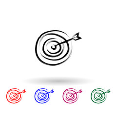 Target sketch style multi color icon. Simple thin line, outline vector of banking icons for ui and ux, website or mobile application