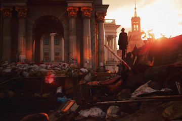 Barricades on the euromaidan in Kiev during the 2014 revolution. Ukraine.