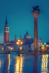 Wall Mural - Piazza San Marco at night, view on venetian lion and san giorgio maggiore, Vinice, Italy
