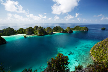 Printed roller blinds Green blue Picuresque landscape Wajag island, Raja Ampat, Indonesia