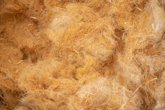 Closeup of hemp wool, an ecological insulation material which is environmentally friendly and completely recyclable