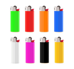 lighter different color set realistic vector illustration isolated