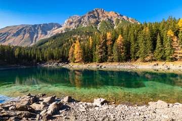 Wall Mural - Amazing mountain lake. Alps, Austria,Tyrol, Lake Obernberg, Stubai Alps.