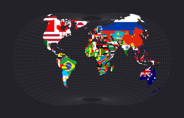Map with flagsofallcountries of the world. Laskowski tri-optimal projection. Map of the world with meridians on dark background. Vector illustration.