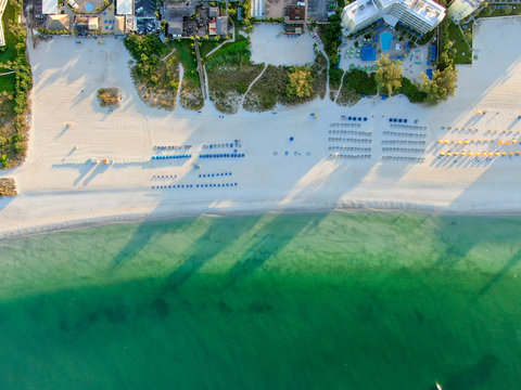 Aerial view of St Pete beach and resorts in St Petersburg, Florida USA