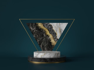 3d render, abstract green background with black white marble texture, gold foil. Cylinder pedestal, podium, showcase stand. Triangular slab, triangle shape, art deco design, luxury minimal mockup