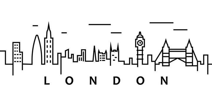 London cityscape illustration. Simple line, outline vector of city landscape icons for ui and ux, website or mobile application on white background