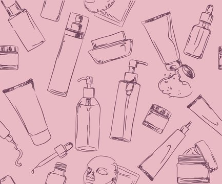 patterns with Korean cosmetics, chalk-drawn cosmetic jars and tubes, Skin care and makeup, Seamless pattern for fabric, wallpaper, packaging