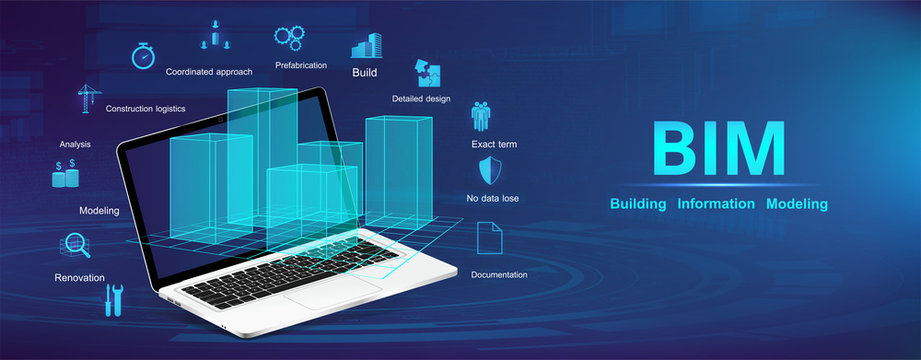Building Information Modeling concept. BIM banner with a laptop and  model city with icons and keywords. The concept of business. Industry construction, from start to finish BIM. Vector illustration