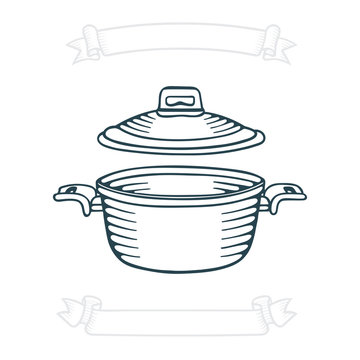 Saucepan. Hand drawn saucepan vector illustration. Red cooking pot sketch. Kitchen appliance drawing. Casseroles icon. Part of set.
