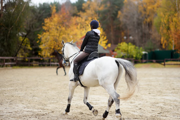 Girl rider trains in horse riding in equestrian club on autumn day.