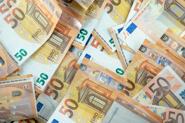 Carpet of 50 euro banknotes. Euro money notes. Fifty Euro banknotes. Euro 50 currency notes - business background