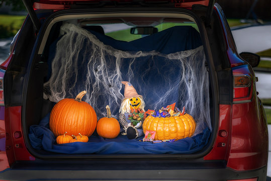 A car is decorated for Trunk or Treat event, an alternative for kids Trick or Treating in a safe environment on Halloween night, on October 27, 2019 in Dallas, Texas.