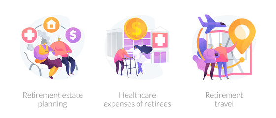 Privileges for pensioners, medical service, tourism icons set. Retirement estate planning, healthcare expenses of retirees, retirement travel metaphors. Vector isolated concept metaphor illustrations