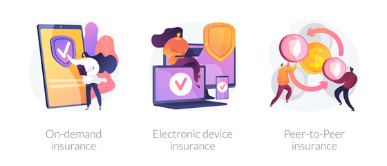 Obraz Services ordering, financial protection, risk sharing icons set. On demand insurance, electronic device insurance, peer to peer insurance metaphors. Vector isolated concept metaphor illustrations - fototapety do salonu
