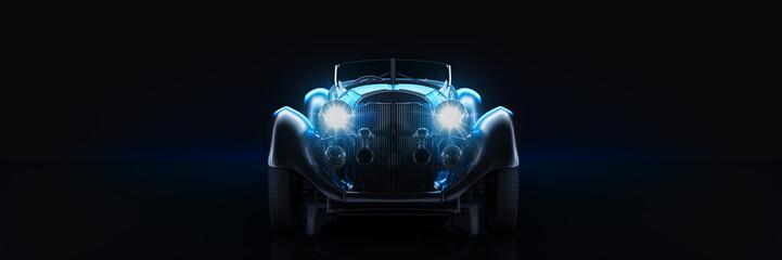 Sports  classic car, studio setup, on a dark background. 3d rendering