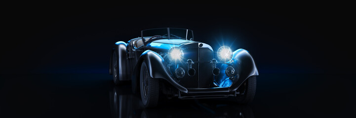 Fototapete - Sports  classic car, studio setup, on a dark background. 3d rendering