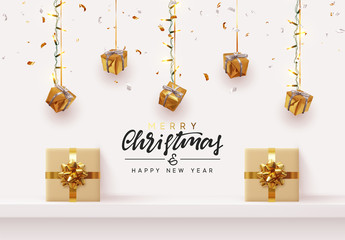 Christmas background. Xmas design hanging from light garland with realistic gift boxes strewn with golden confetti. Handmade calligraphic lettering text Merry Christmas and Happy New Year.