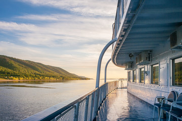 Ship cruise on the Volga River