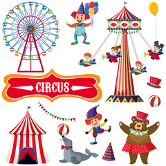 Circus set with many people and animals