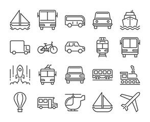 20 Transport icons. Transportation line icon set. Vector illustration. Editable stroke.
