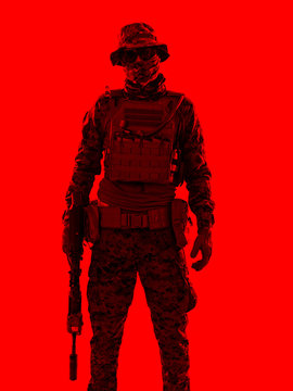 soldier red duotone