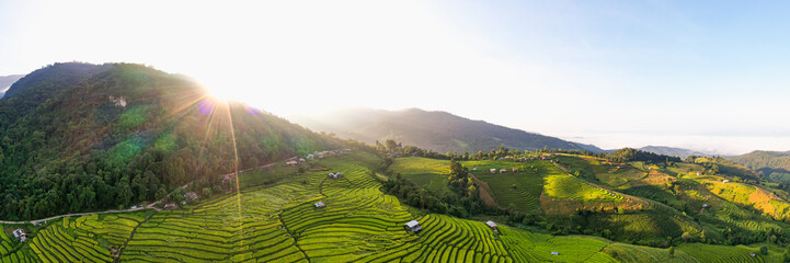Panorama Aerial view morning scene of Pa Bong Piang beautiful terraced rice fields, Mae Chaem, Chiang Mai Thailand