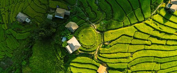 Autocollant pour porte Les champs de riz Aerial view morning scene of Pa Bong Piang terraced rice fields, Mae Chaem, Chiang Mai Thailand
