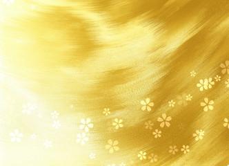 Wall Mural - 金色のウェーブを背景にした桜
