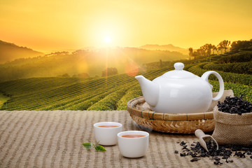 Warm cup of tea with teapot, green tea leaves and dried herbs on the bamboo mat at morning in plantations background with empty space, Organic product from the nature for healthy with traditional Wall mural