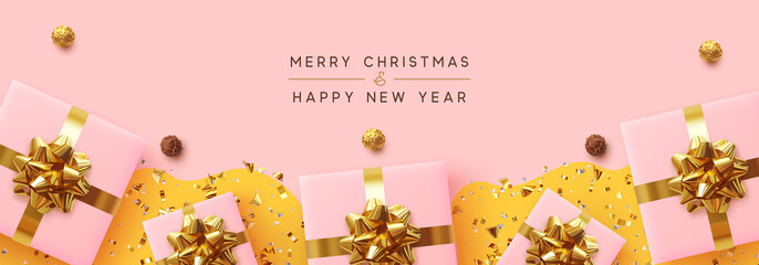 Fotomurales - Banner Merry Christmas and Happy New Year. Realistic pink gift boxes, glitter gold confetti, Chocolate round candy in foil, Xmas present. flat lay, top view. Vector illustration