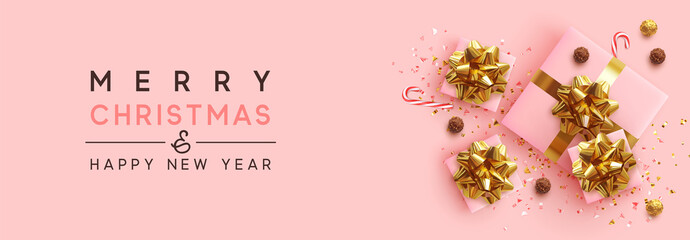Fotomurales - Banner Merry Christmas and Happy New Year. Realistic pink gift boxes, glitter gold confetti, Chocolate round candy in foil, sweet cane. Xmas present. flat lay, top view. Vector illustration